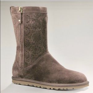 UGG Lo Pro Perforated Suede Boot Dark Brown 6